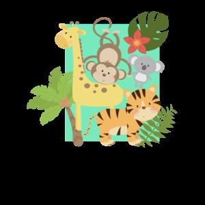 Lustige Dschungel Tiere vereint
