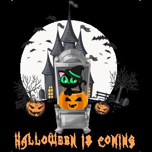 Katze auf dem Thron lustiges Halloween 2019 kommt