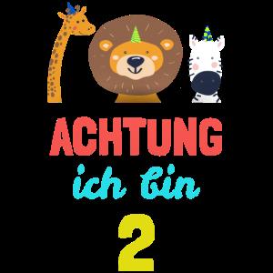 Kinder Tiere T-Shirt 2. Geburtstag Jungen 2 Jahre