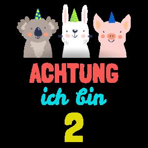 Kinder Tiere T-Shirt 2. Geburtstag 2 Jahre