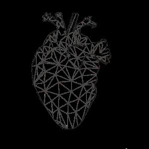 Geometrisches Herz Black & Grey