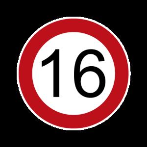Happy Birthday 16 Verkehrsschild Geburtstag