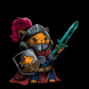 Ritter Cat Warrior Shield Schwert Cavalier Noble