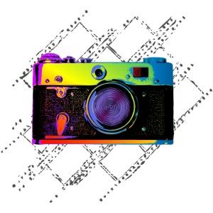 Vintage Rangefinder Film Camera Pop Art Style