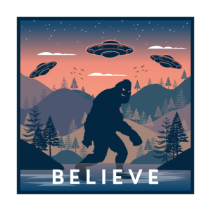 Vintage Bigfoot Believe Illustration mit UFOs