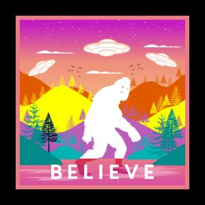 Vintage Bigfoot Believe Illustration mit UFOs