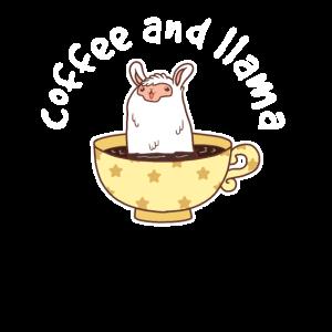 Kaffee und Lama in einer Tasse Süßes Koffein