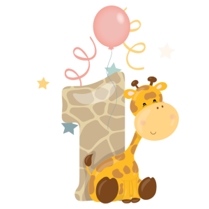 1. Geburtstag Safari Giraffe Kinder Baby Zahl 1th
