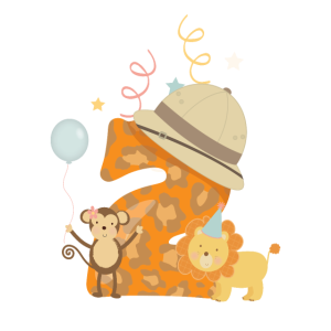2. Geburtstag Safari Löwe Affe Kinder Baby Zahl