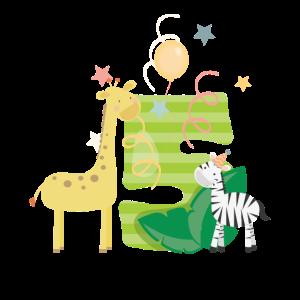 5. Geburtstag Safari Giraffe Zebra Kinder Zahl 5th