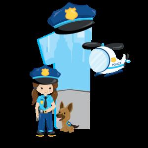 1. Geburtstag Polizei Mädchen Hund Kinder Baby 1th