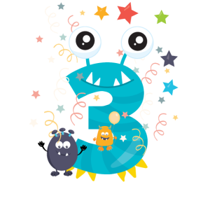 3. Geburtstag Monster Zahl Kinder Baby 3th