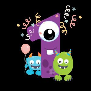 1. Geburtstag Monster Zahl Kinder Baby 1th first