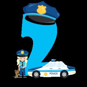 2. Geburtstag Polizei Mädchen Hund Auto Baby 2th
