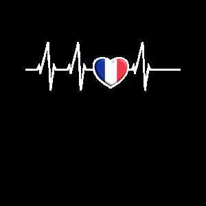 Herzschlag Frankreich Herz France Flagge Geschenk