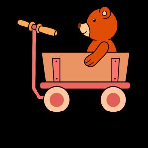 Teddybär im Bollerwagen