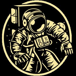 Astronaut im Weltall Schwerelos Raumanzug