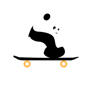 Panda auf Skateboard