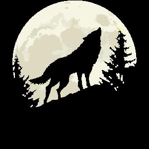 Heulender Wolf Mond Vollmond Wald Nacht Silhouette