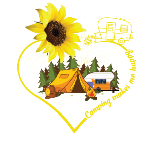 Camping Makes Me Happy Sunflower Heart Camper