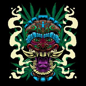 Cannabis Tiki Maske Gras Marihuana Smoke Weed Geschenk