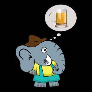 Elefant mit Bier Alkohol Sauf Party