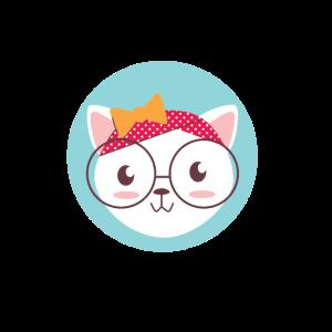 Kitty mit Brille und gepunktetem Kopftuch