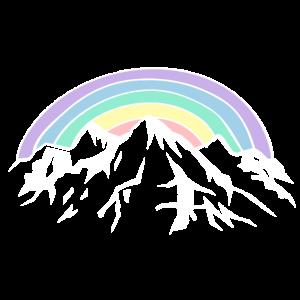 Regenbogen und Berge