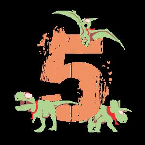 5. Geburtstag Dinosaurier 5 Jahre Birthday Dino