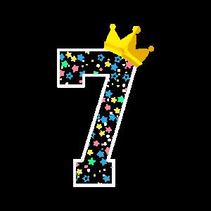 Sieben 7. Geburtstag Krone Kindergeburtstag