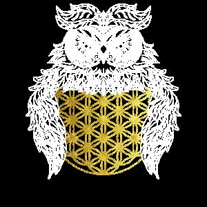 Eule Mandala mit goldener Blume des Lebens Tattoo