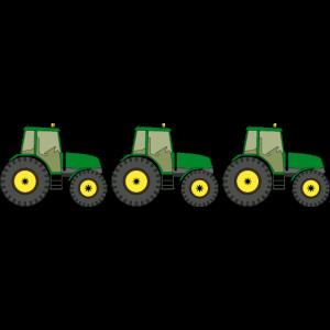 drei Traktoren in einer Reihe