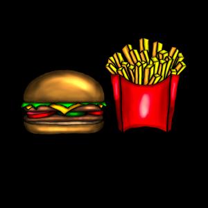 Hamburger und Pommes - Fast Food Liebhaber
