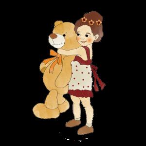 Mädchen Riesen Teddy Freundschaft Retro Design