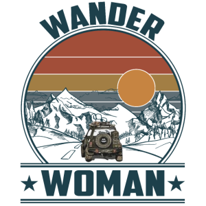 Wander Woman Camping Hiking Vintage Sunset Jeep