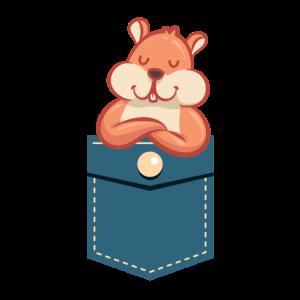 Freches Eichhörnchen in der Brusttasche