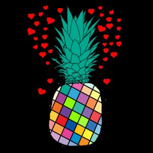 Bunte Ananas mit Herzen