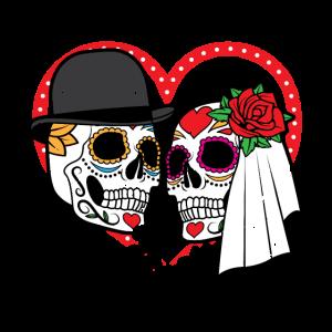 Ehemann Ehefrau Sugar Skull Ehe Ehepaar Heiraten