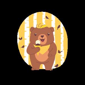 Bärenjunges, das Eiscreme im Wald isst