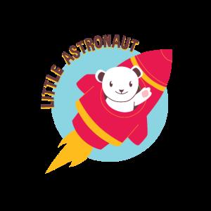 Kleine Astronautenbaby-Eisbär-Rakete