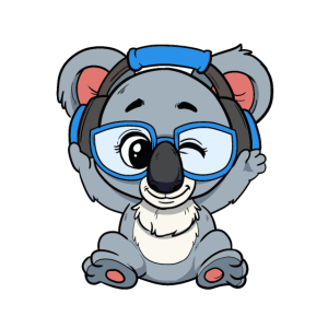 Süßer Blauer Zwinkernder Koala DJ