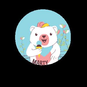 Eisbärenjunges, das Eiscreme isst