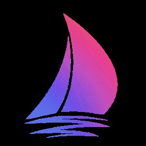 Segelboot rot blau Verlauf Geschenk