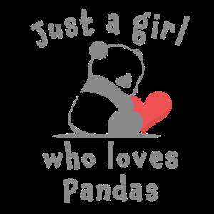 Nur ein Mädchen liebt Panda auf Weiß. Herz