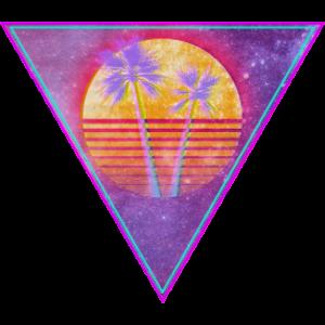 retro sun pixel triangel