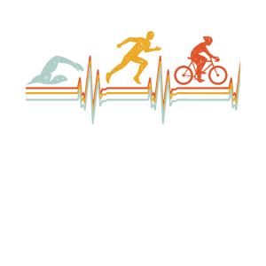 Triathlon Herzschlag Extremsport Geschenk Vintage