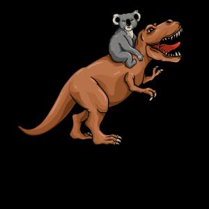Koala-Bär, der T Rex reitet - niedlicher Trex-Dinosaurier