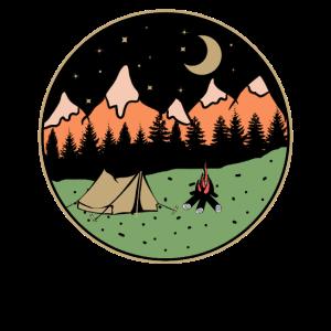 Camping bei Nacht in der Wildnis GRUNGE