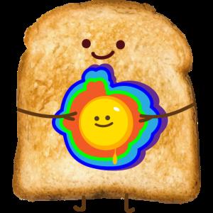 Buntes Ei und Toast