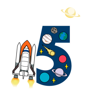 5. Geburtstag Weltraum Rakete Universum Geschenk